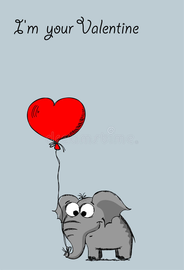 Elephant in love on Valentine's Day,vector vector illustration