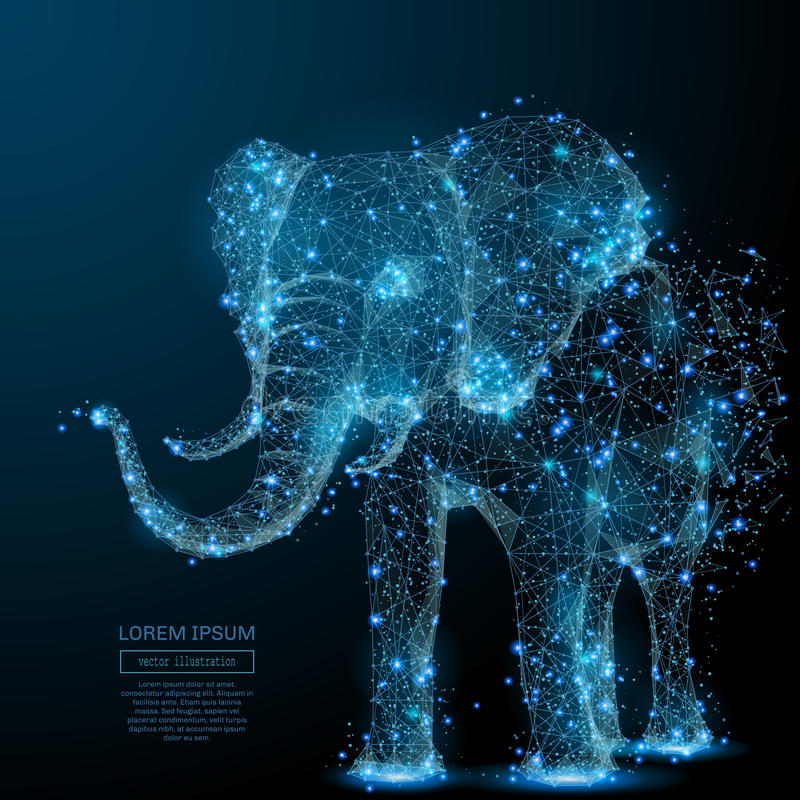 Elephant low poly blue. Elephant isolated from low poly wireframe on dark background. Vector polygonal image in the form of a starry sky or space, consisting of royalty free illustration