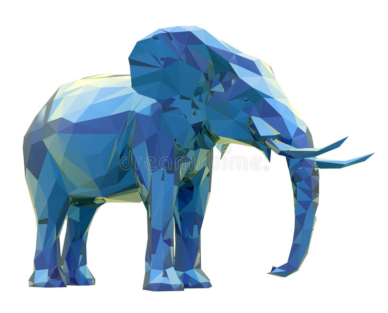 Elephant, low poly. 3d render of elephant, abstract geometric low poly vector illustration