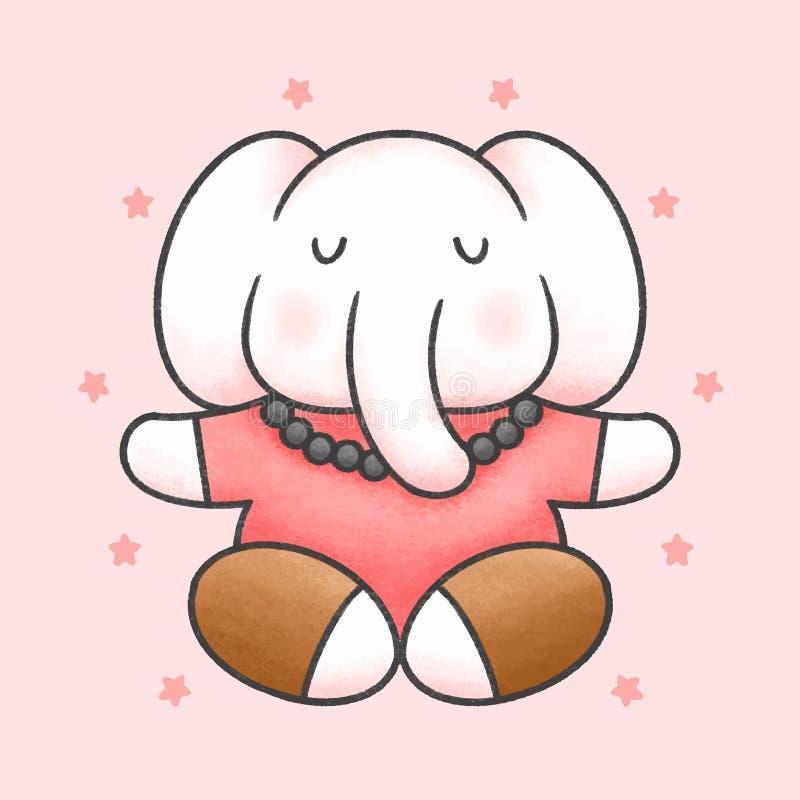 Elephant makes yoga cartoon hand drawn style. Elephant makes yoga hand drawn cartoon animal character. Hand drawing vector. Cartoon character design stock illustration