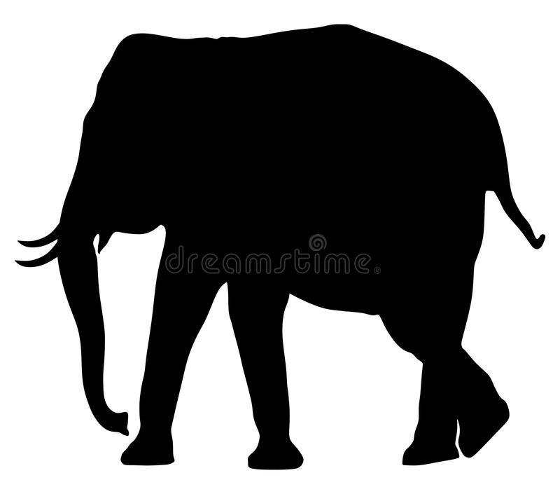 Elephant male silhouette. stock illustration