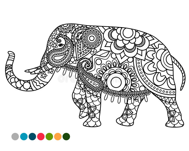 Elephant mandala ornament with colors samples. Elephant decorated mandala ornament coloring page with colors samples stock illustration