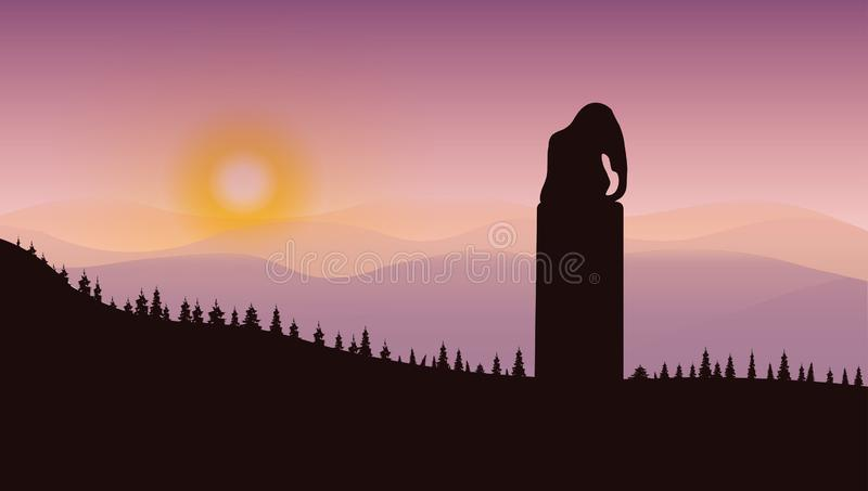 Elephant monument in the mountains vector illustration
