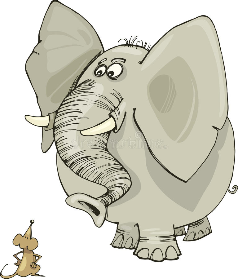 Elephant and mouse. Illustration of elephant and mouse