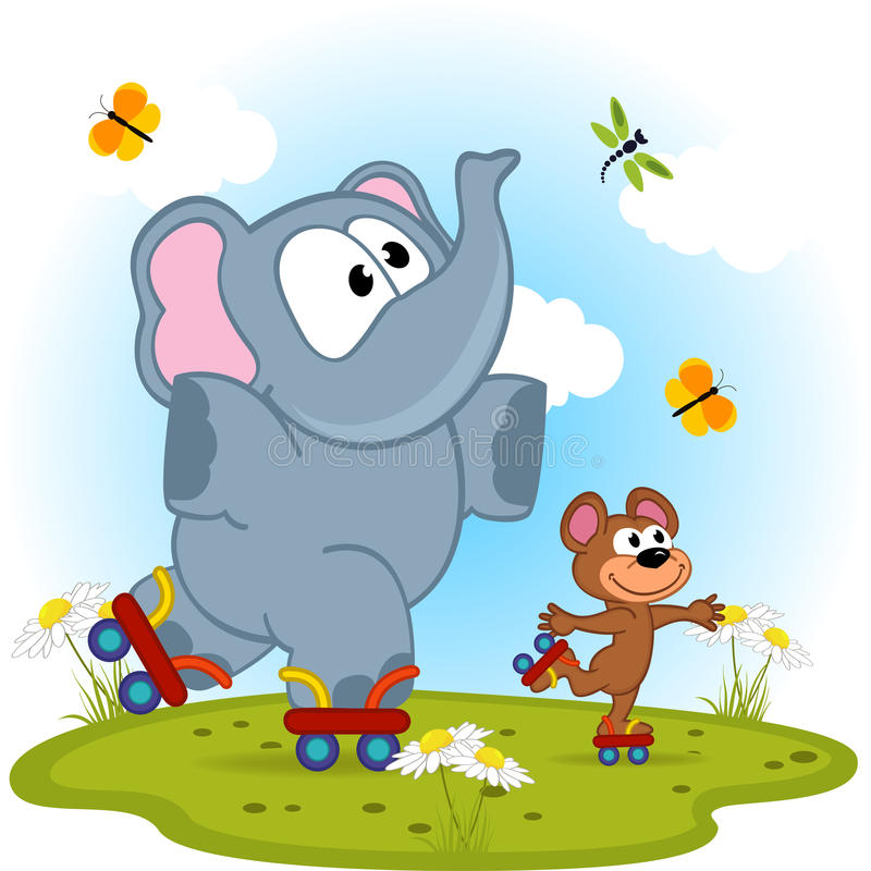 Elephant and mouse roller skating vector illustration