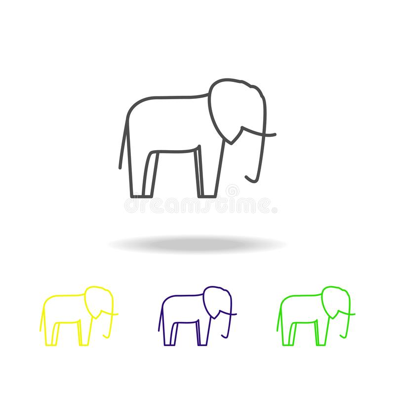 elephant multicolored icon. Element of safari can be used for web, logo, mobile app, UI, UX stock illustration