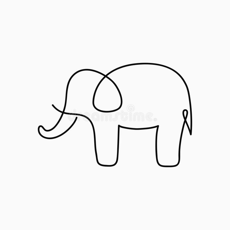 Download elephant one line drawing continuous line animal hand drawn illustration for logo