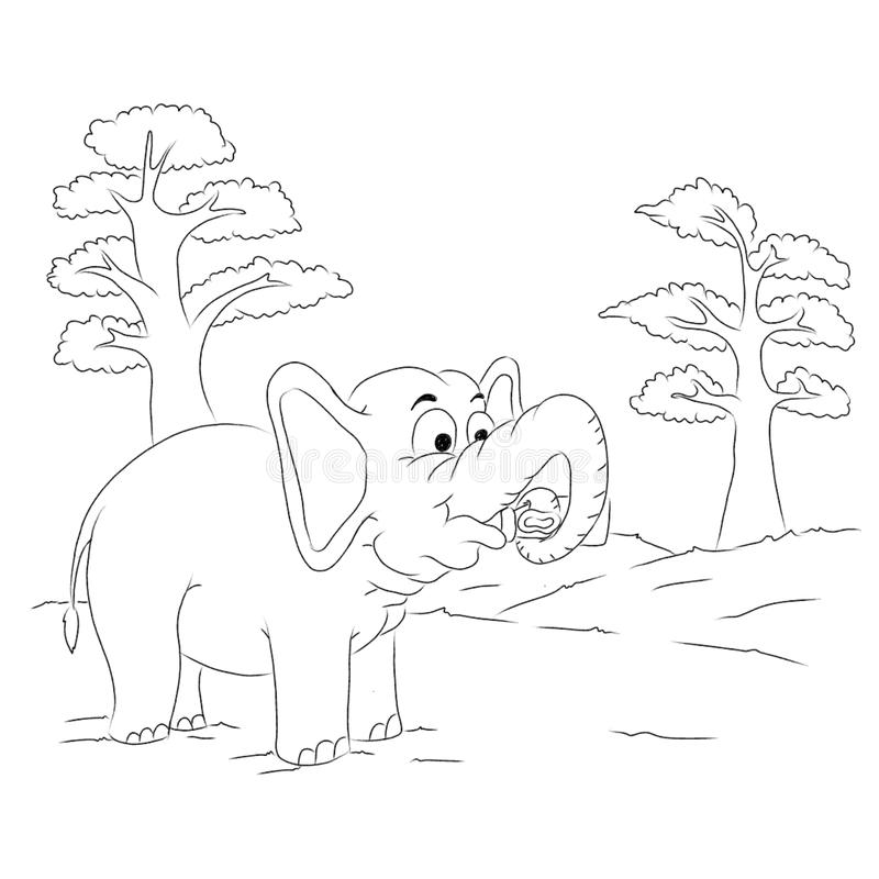 Elephant outline cartoon colouring page vector illustration