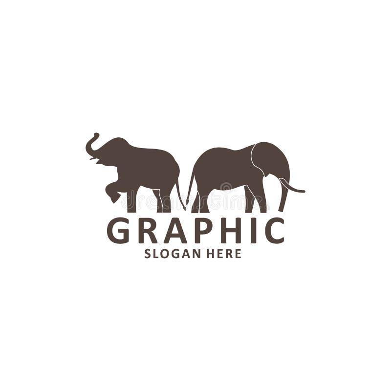Elephant outline logo, simple vector illustration of the elephant royalty free illustration
