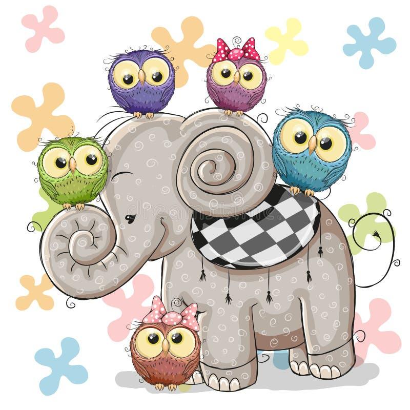 Elephant and Owls. Cute Cartoon Elephant and Five Owls on a flowers background