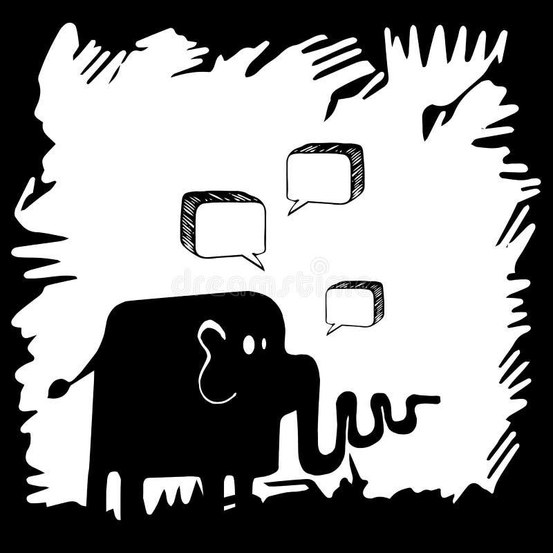 Elephant painted background with interesting patterns. stock illustration