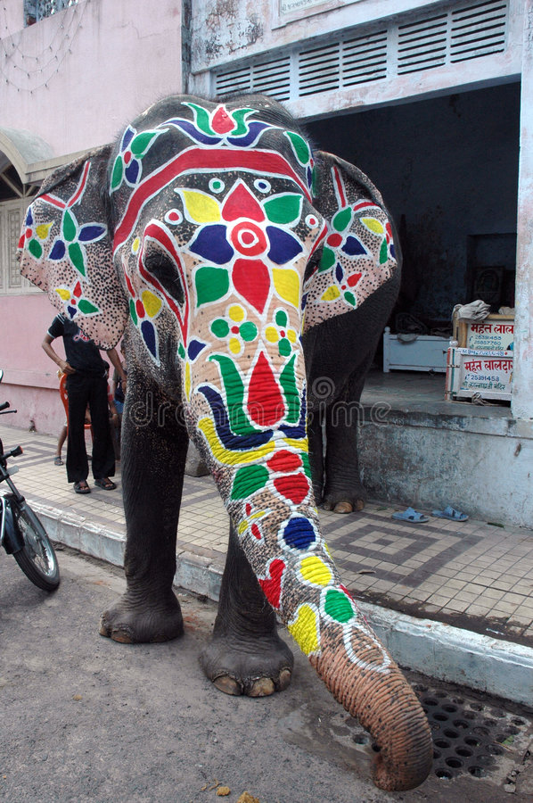 Elephant painted for Rathyatra-Ahmedabad. The famous Jagannath (Jagdish) Temple at Ahmedabad, Gujarat, India from where every year Rath Yatra begins stock images