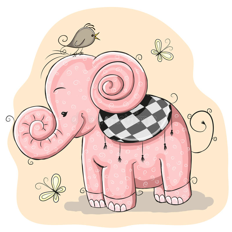 elephant pink stock illustrationer