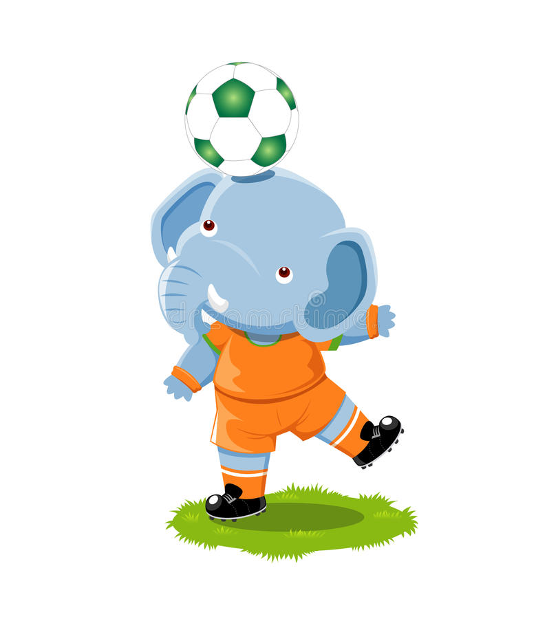 Download Elephant playing football stock vector. Image of tired - 25459481