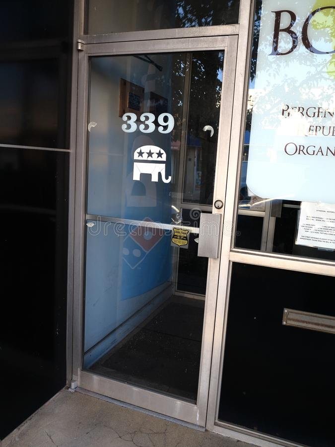 Elephant Political Symbol, Local Republican Offices. Republican GOP Elephant on the front door of the Bergen County Republican Organization in Hackensack, New royalty free stock photography