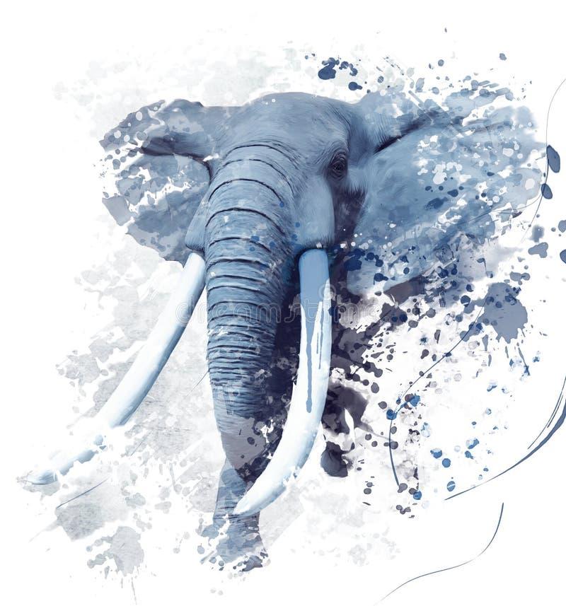 Free Elephant Portrait Watercolor Stock Photography - 86417792
