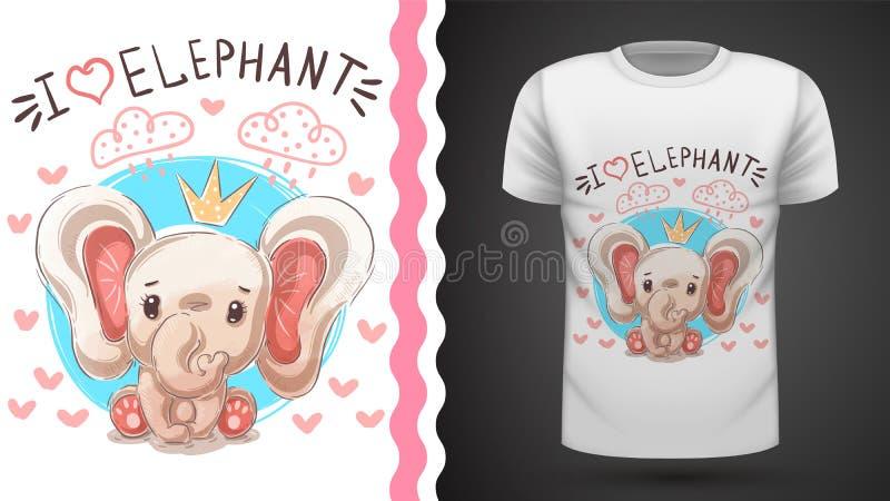 Elephant princess - idea for print t-shirt. royalty free illustration