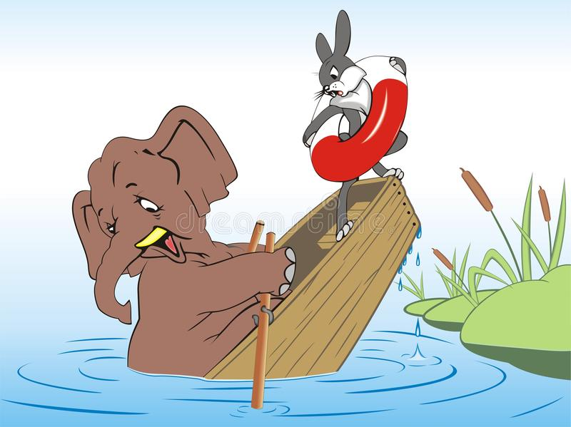 Elephant and rabbit drown in a boat stock illustration