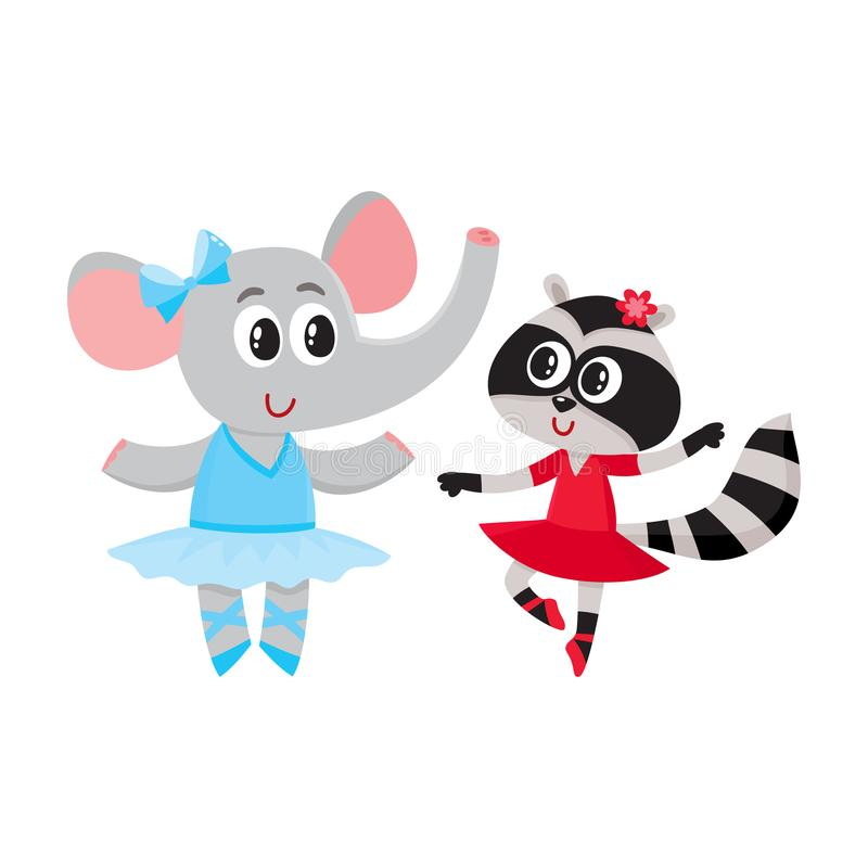 Elephant and raccoon, puppy and kitten characters dancing ballet together stock illustration
