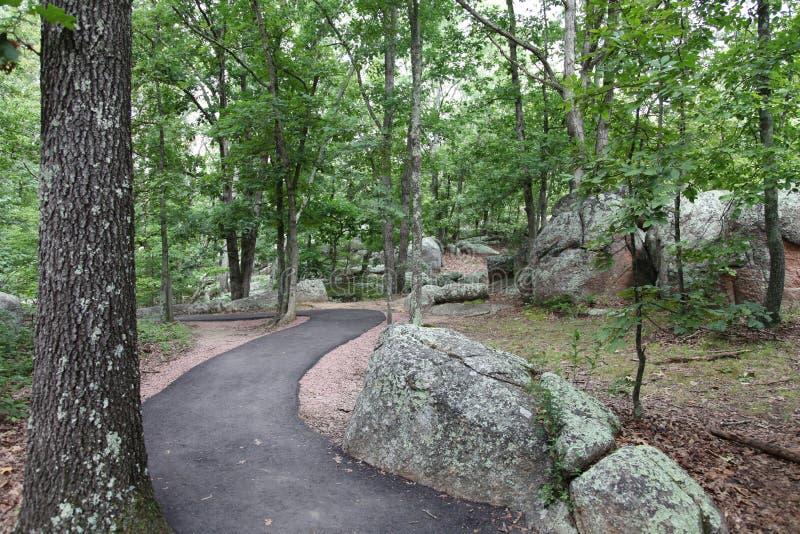 Elephant Rock State Park walking trail, Belleview, Missouri royalty free stock photo