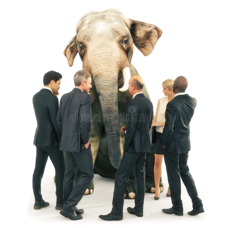 Elephant in the room out of place,. Business men and women in a group with an out of place elephant. 3d rendering illustration vector illustration