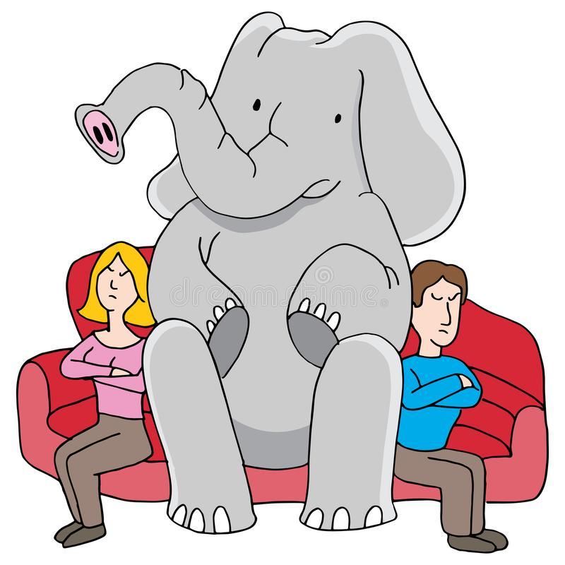 Elephant in Room Relationship Problems. An image of a Elephant in Room Relationship Problems man and woman argument cartoon vector illustration