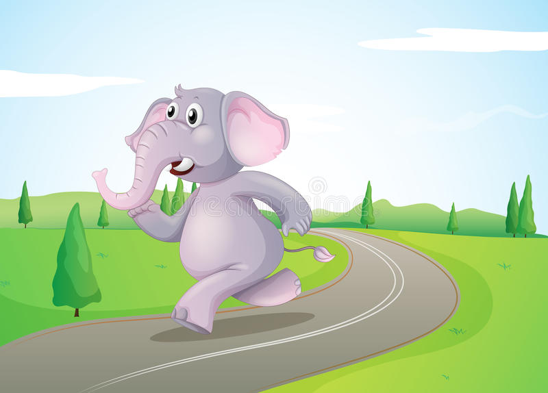 An elephant running at the road. Illustration of an elephant running at the road vector illustration