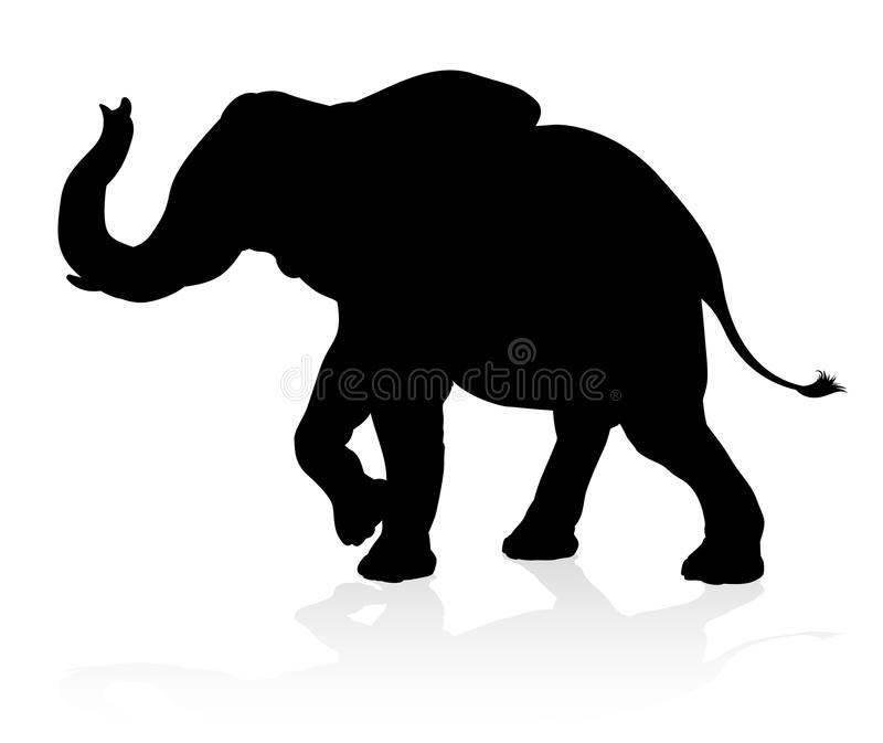 Elephant Animal Silhouette stock illustration