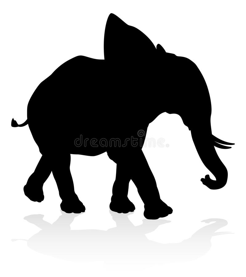 Elephant Safari Animal Silhouette royalty free illustration