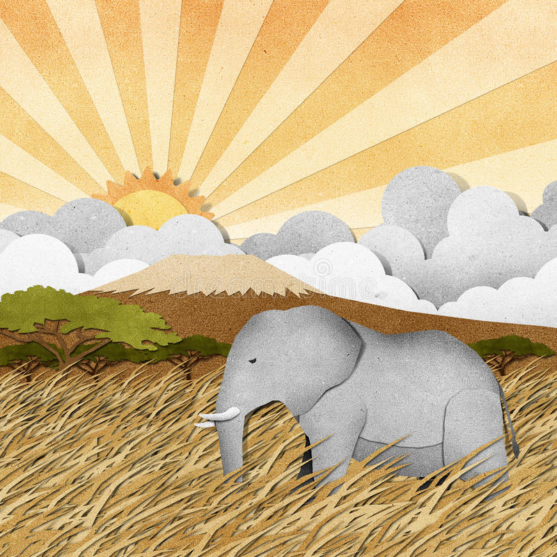 Elephant In Safari Field Recycled Paper Background Royalty Free Stock Photography