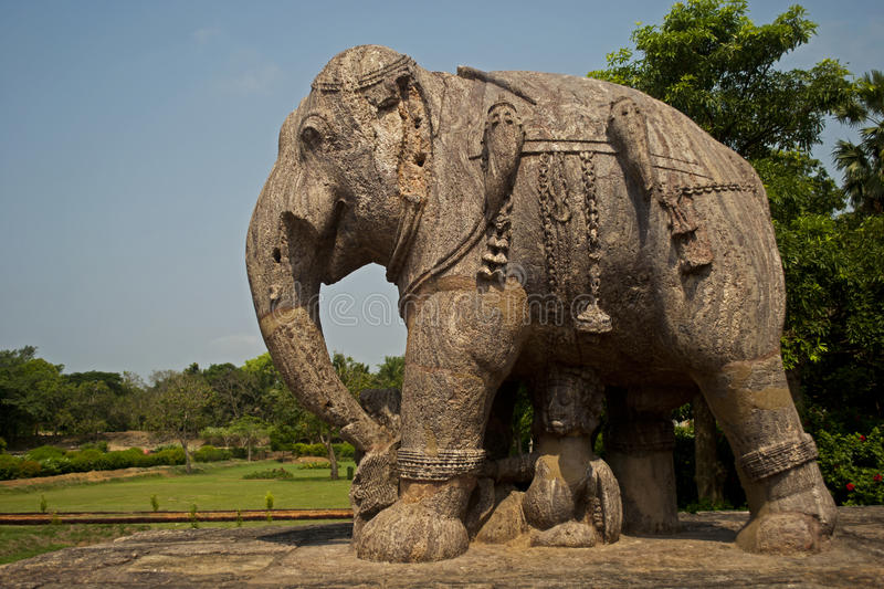 Elephant Sculpture. Of the extension part of Konark Temple-Orrisa-India royalty free stock photography