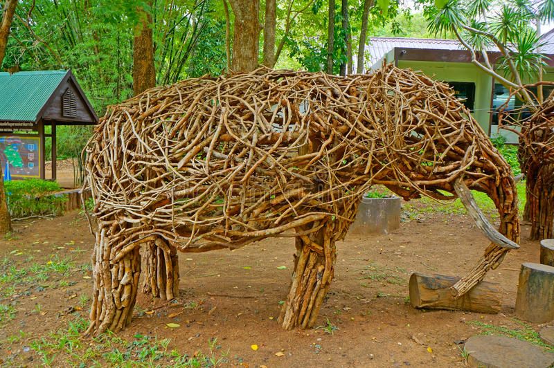 Elephant sculpture. Made of wood elephant sculpture stock photo