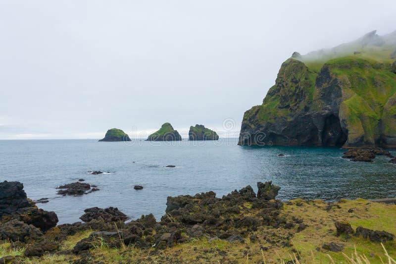 Elephant shape rock, Vestmannaeyjar island beach, Iceland royalty free stock image