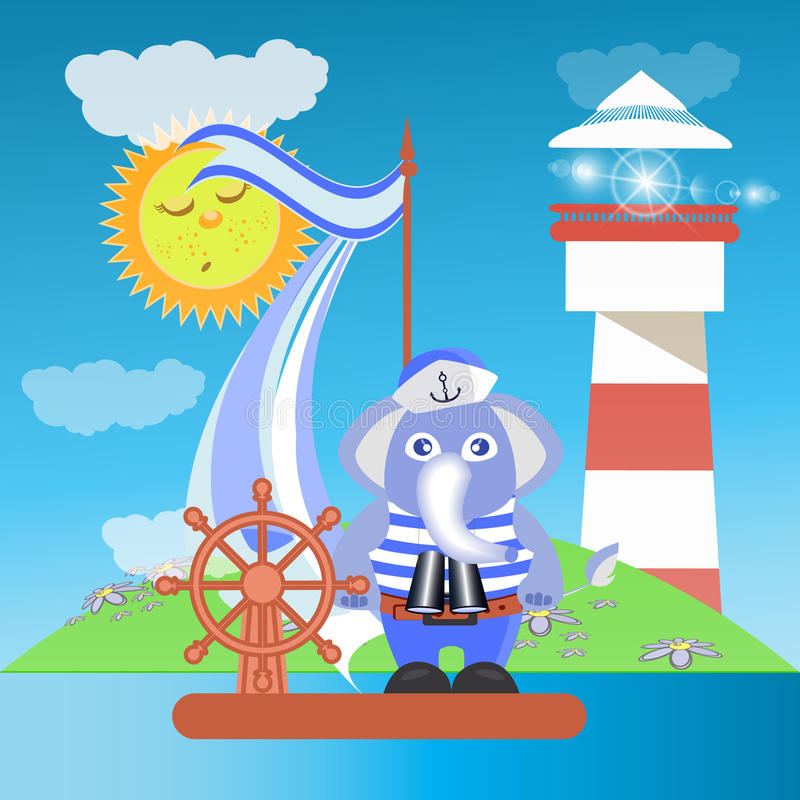 Elephant on the ship at sea with the lighthouse stock illustration
