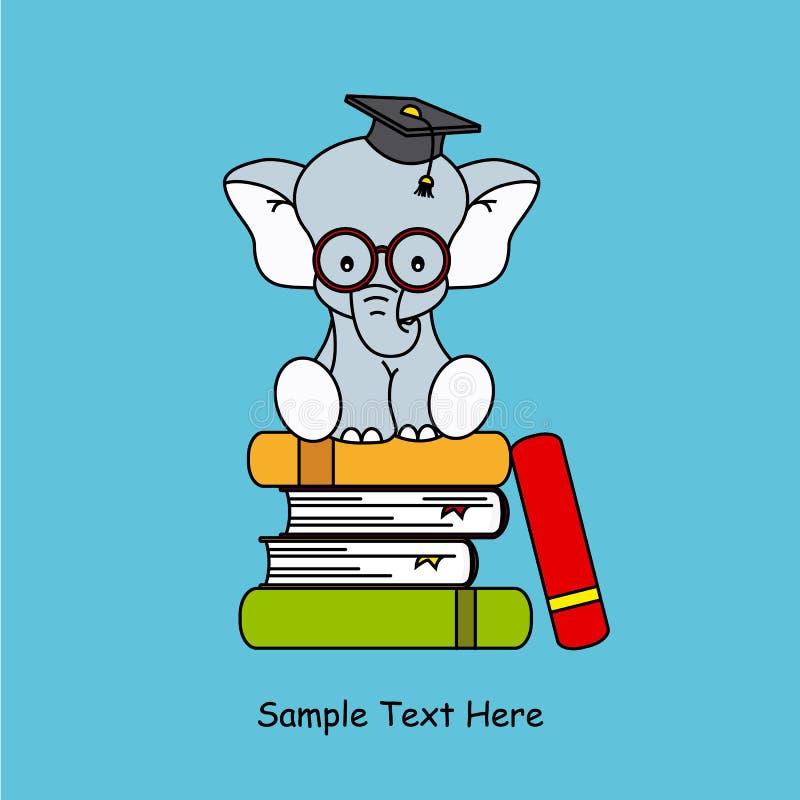 Elephant sitting on top of books stock illustration
