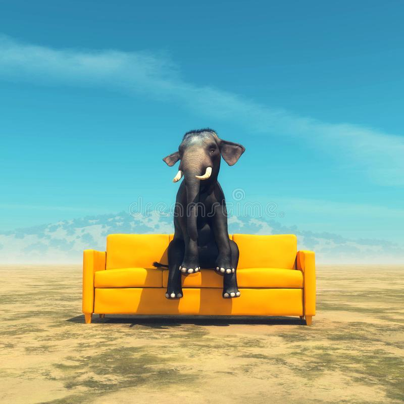 Elephant on sofa. Elephant sitting on sofa in the open field royalty free stock images