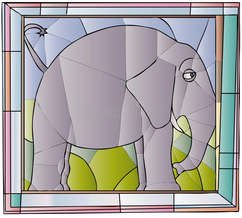 Free Elephant Stained Glass Royalty Free Stock Images - 40476679