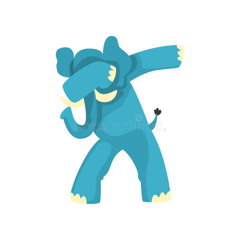 Elephant standing in dub dancing pose, cute cartoon animal doing dubbing vector Illustration on a white background stock illustration