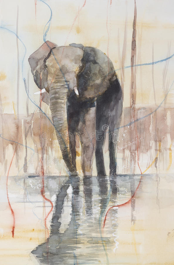 Elephant standing in a lake. royalty free illustration