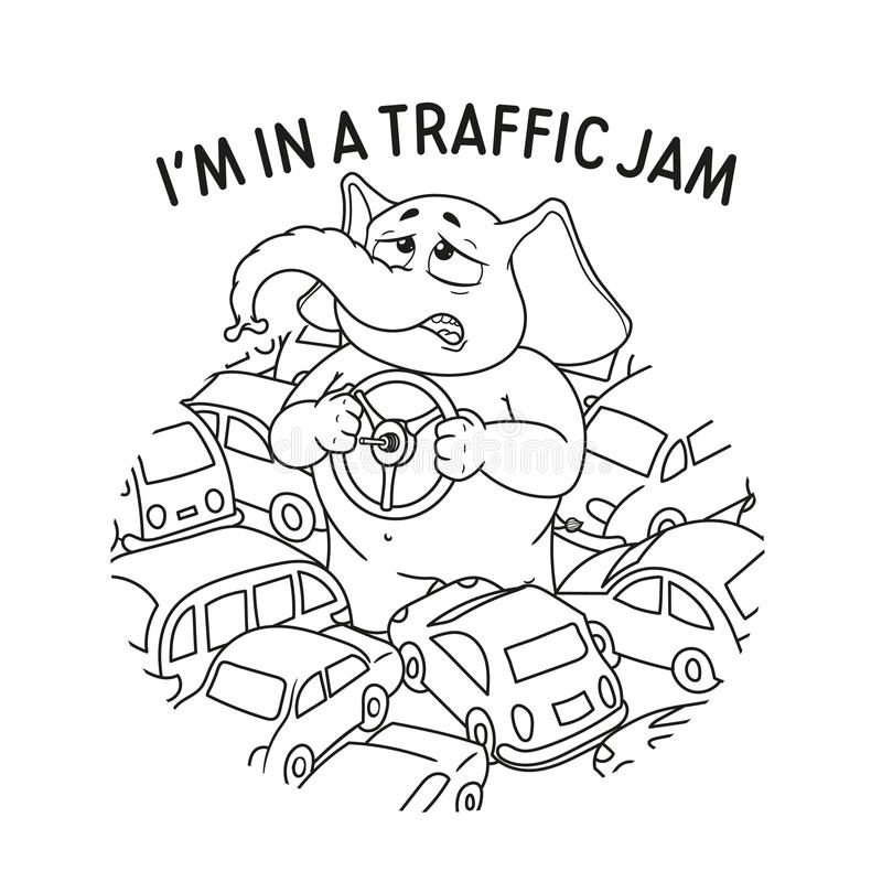 Elephant. Standing in a traffic jam. Steering wheel in hands. A lot of cars. Vector, cartoon. stock illustration