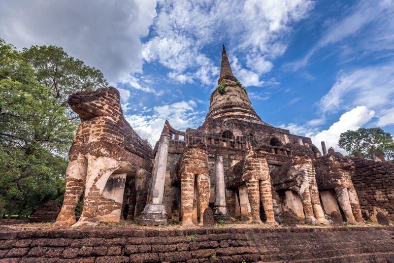 Elephant statue around pagoda at ancient temple Wat Chang Lom at Srisatchanalai historical park, Sukhothai, thailand. Elephant statue around pagoda at ancient stock photography