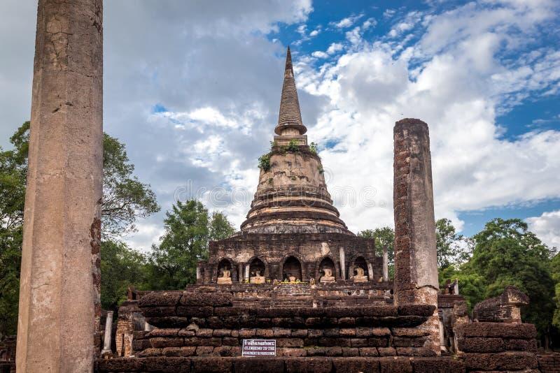 Elephant statue around pagoda at ancient temple Wat Chang Lom at Srisatchanalai historical park, Sukhothai, thailand. Elephant statue around pagoda at ancient stock photo