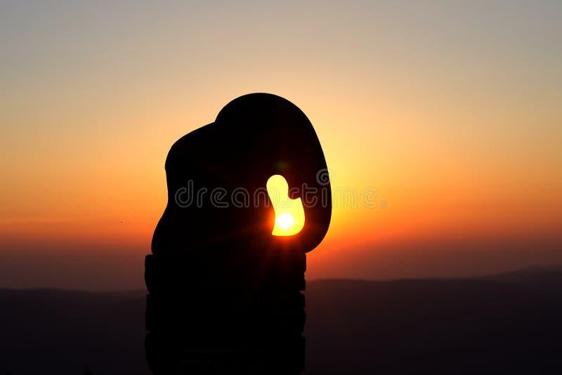 Elephant statue on Kralicky sneznik at sunrise royalty free stock images