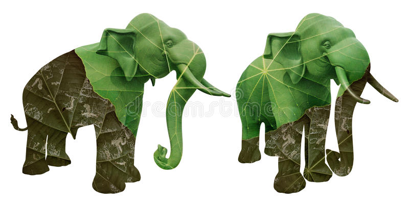 Elephant statue overlaid with dried and green leaf. Represent environment concept isolated on white royalty free stock photography
