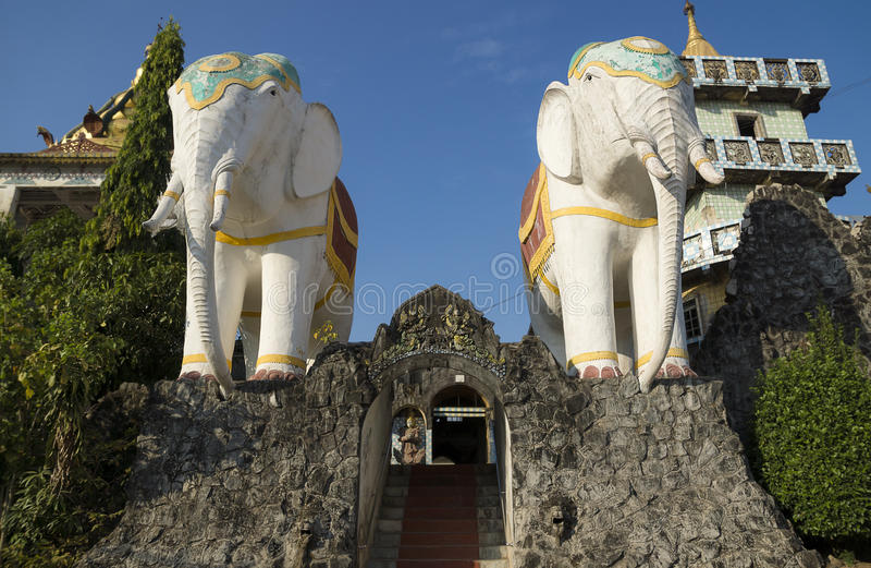 Elephant statues. Entrance of monestary at Bago, Myanmar stock photo
