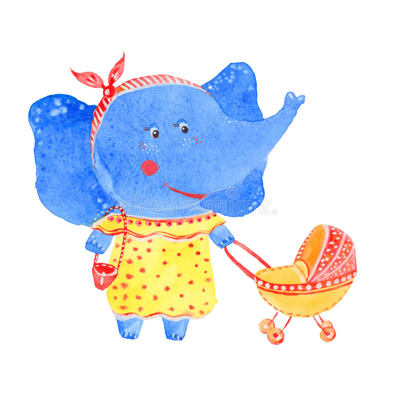 Elephant and stroller. Watercolor illustration on white background stock illustration