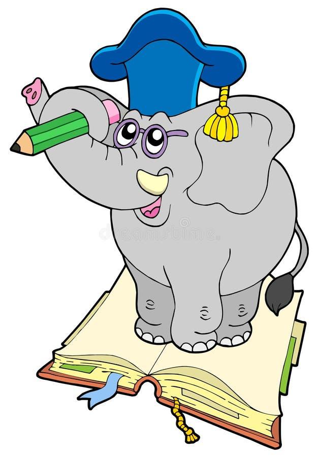 Elephant teacher standing on book. Vector illustration stock illustration