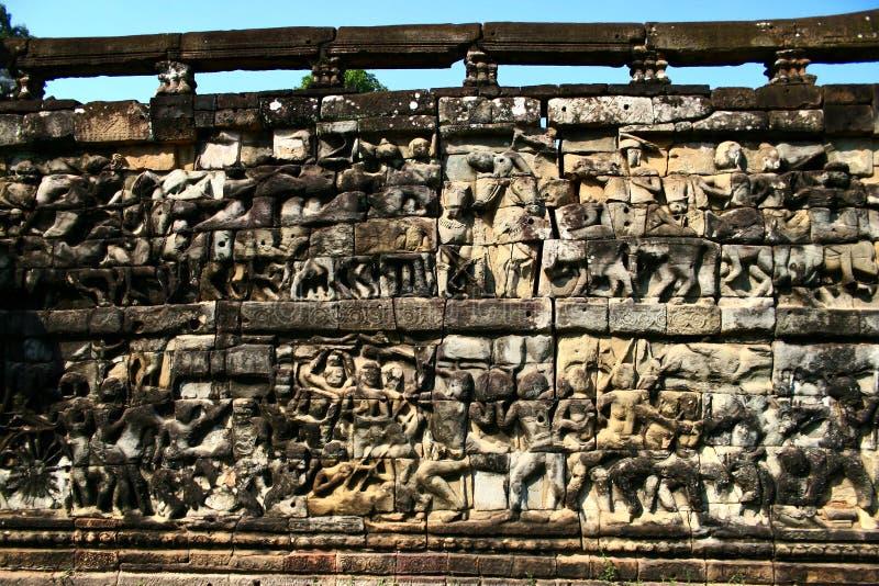 Elephant Terrace,Angkor royalty free stock images