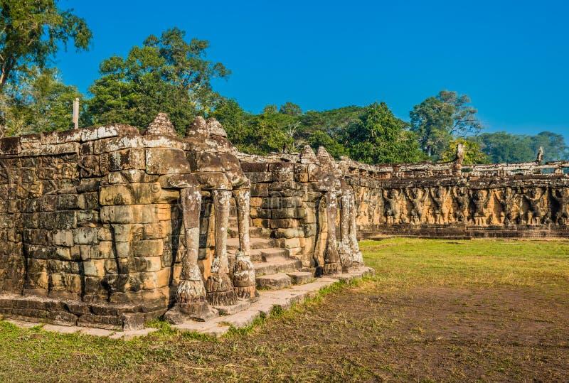 Elephant terrace angkor thom cambodia royalty free stock photography