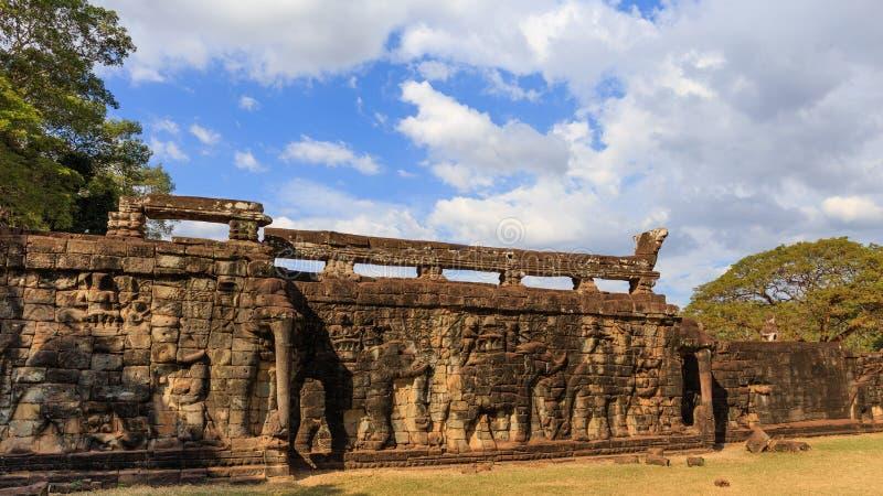 Elephant Terrace in Angkor Thom royalty free stock photo